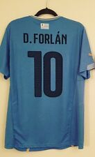 Forlan #10 Uruguay Home Soccer Jersey 2014 World Cup Men's L