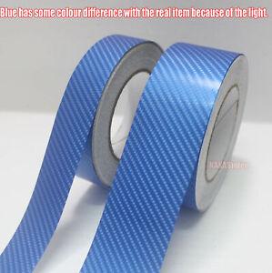3D Textured Carbon Fiber Blue Vinyl Tape Adhesive Auto Wrap Sticker DIY Decal