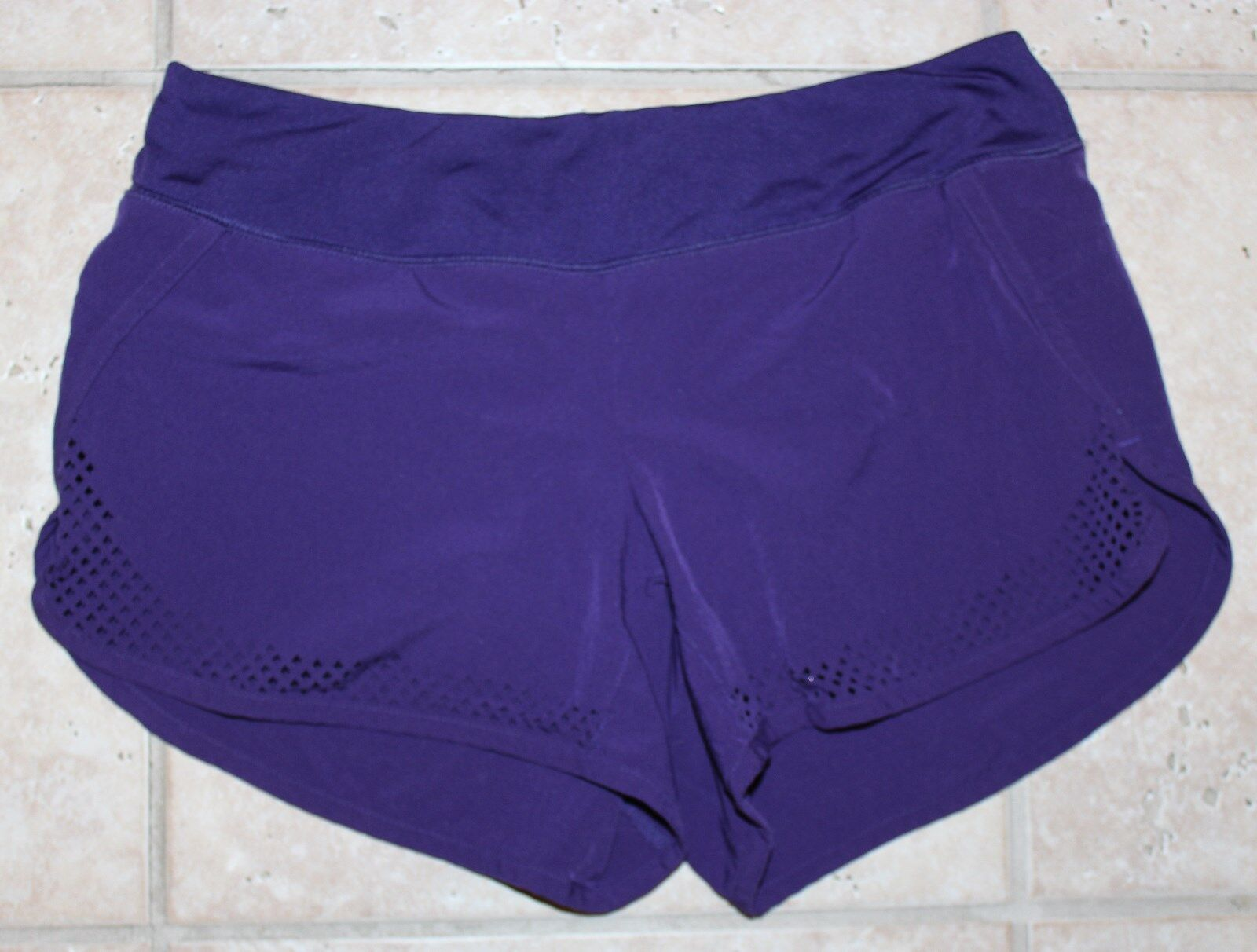 Athleta Womens XS Purple Lime Green Running Casual Yoga Athletic Shorts