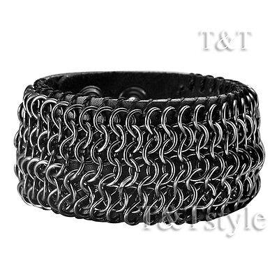 TTstyle Punk Black Leather Link Bracelet Wristband