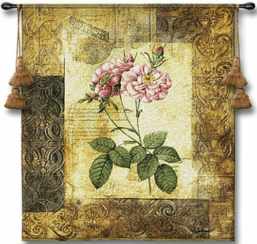 Blossoming Elegance II Modern Floral Botanical Tapestry 41 x53