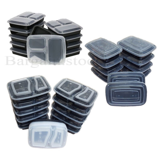 10 PACK READY MEAL PREP FOOD  PLASTIC CONTAINERS COMPARTMENT LUNCH BOX STACKABLE