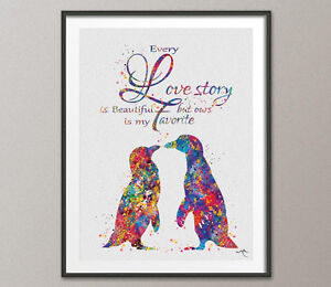 Penguin Love Watercolor Art Print Geek Nerd Love Wedding Gift Wall Art Decor 2
