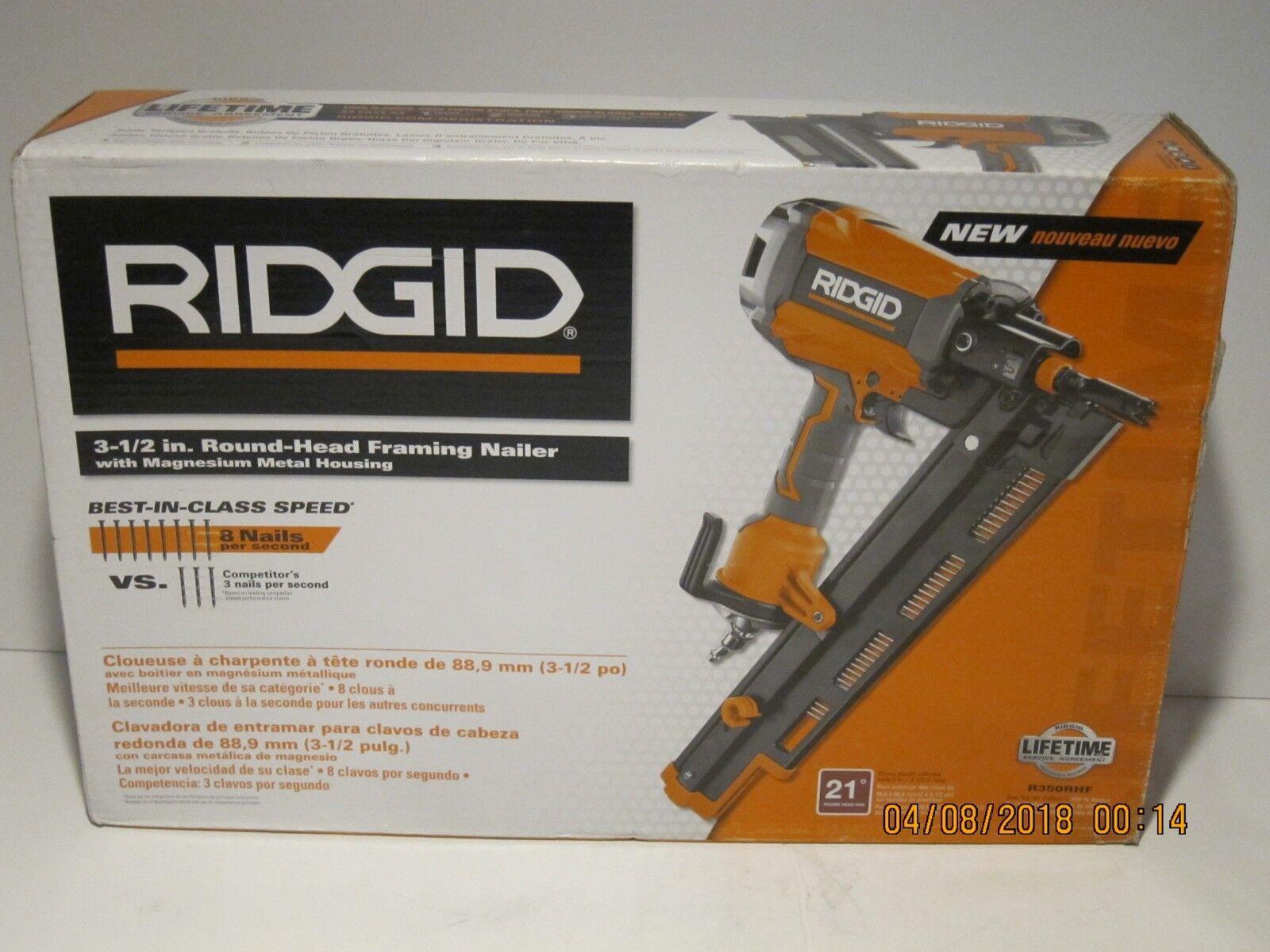 RIDGID R350RHF 21 Degree 3-1 2  Round-Head Framing Nailer-F SHIP NEW SEALED BOX
