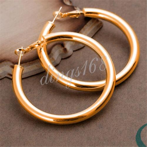 Large Tubulaire Fashion Round Boucles D/'oreilles Créoles H792G environ 5.08 cm 18K Gold Filled 5 mm épais 2 in