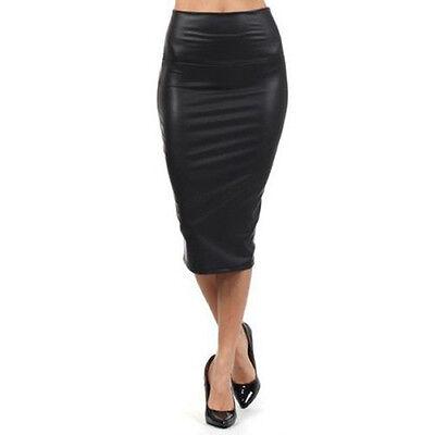 Women Sexy Mini Dress PU Leather Pencil Bodycon High Waist Autumn Short Skirt