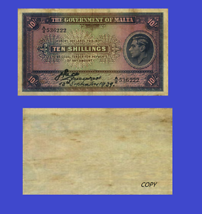 UNC Reproduction MALTA 10 SCHILLINGS 1939