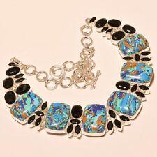 Wonderful Rainbow Calsilica & Black Onyx Handmade Work .925 Silver Ebay Necklace