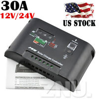 30a Solar Regulator Charge Controller 12v And 24v System Battery Charger Us Post