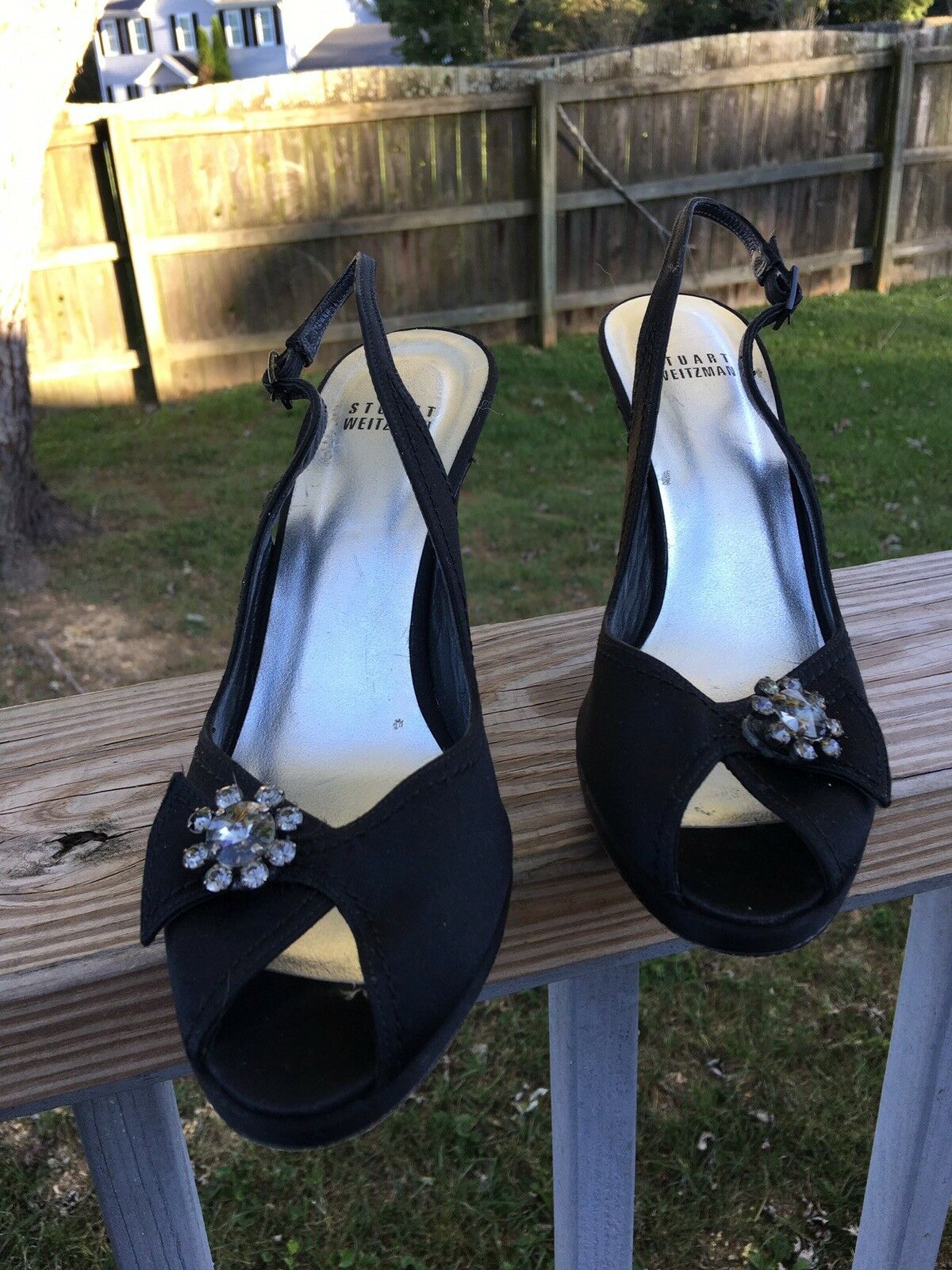 Stuart Weitzman donna scarpe Dimensione 8 nero Slingback Pump Satin Leather Heel