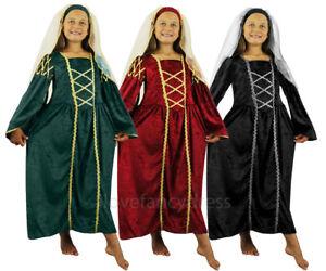 Ragazze-Tudor-Principessa-Costume-Regina-Medievale-Abito-Bambino-amp-Copricapo