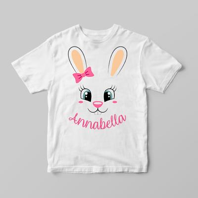 T-Shirt For Girls Girls Easter Gift Personalised Easter Unicorn Bunny T-Shirt