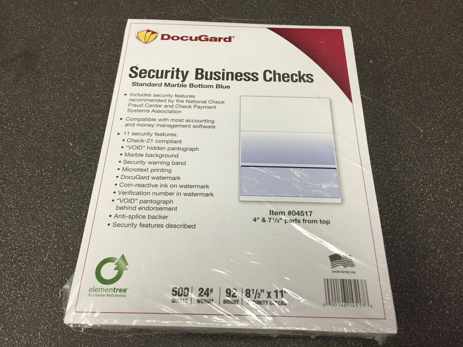 Docugard Security Business Checks set Of 500 #04517 Marble Bottom Blue