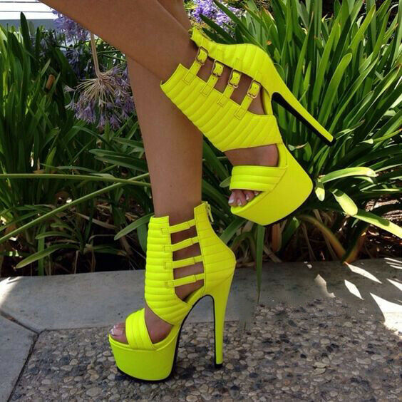 STYLISH Women Sandals Peep Toe High Heels Sandals Yellow shoes Big Size 4-20