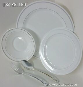 Image is loading 186-Reflective-Premium-Plastic-Plates -Bowls-Heavyweight-China- & 186 Reflective Premium Plastic Plates Bowls Heavyweight China-Look ...
