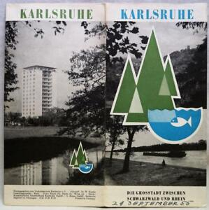 KARLSRUHE GERMANY SOUVENIR TOURISM BROCHURE GUIDE MAP 1955 VINTAGE