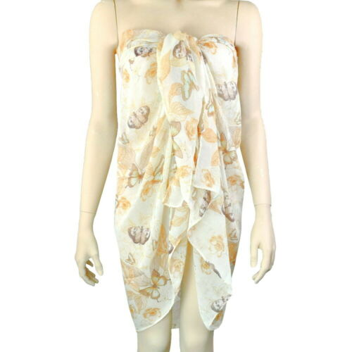 LARGE BUTTERFLY FLORAL WRAP SHAWL SCARF COVER UP 86cm x 174cm