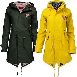 Details about Derbe Hamburg Ladies Raincoat Rain Jacket Travel Friese Friesennerz Yellow Olive
