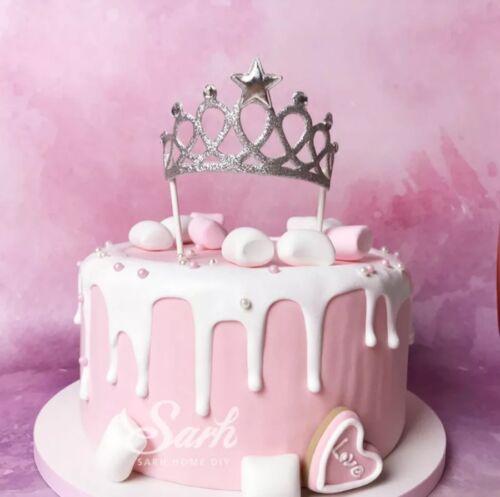 Argent Paillettes Tiara Crown Cake Topper Gâteau Décoration Princesse Fête D/'Anniversaire