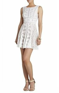 NEW-BCBG-MAX-AZRIA-WHITE-KELLEY-SLEEVELESS-LACE-BLOCKED-DRESS-NTC66B38-M872-SZ-8