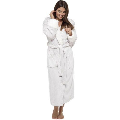 Womens Wolfe /& Harte Luxury Soft Coral Fleece Shimmer Dressing Gowns Sherpa Hood