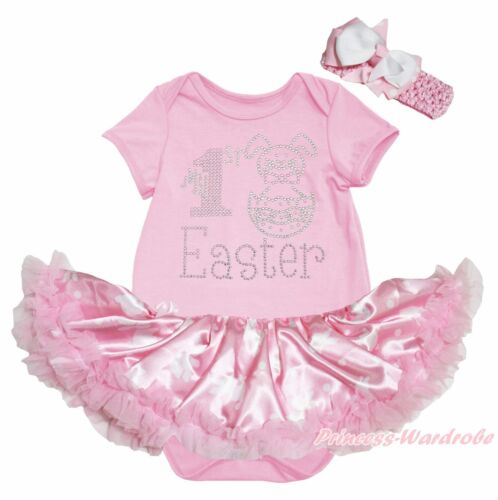 My 1ST Easter Bunny Egg Pink Bodysuit Rabbit Dots Girls Baby Dress Outfit NB-18M