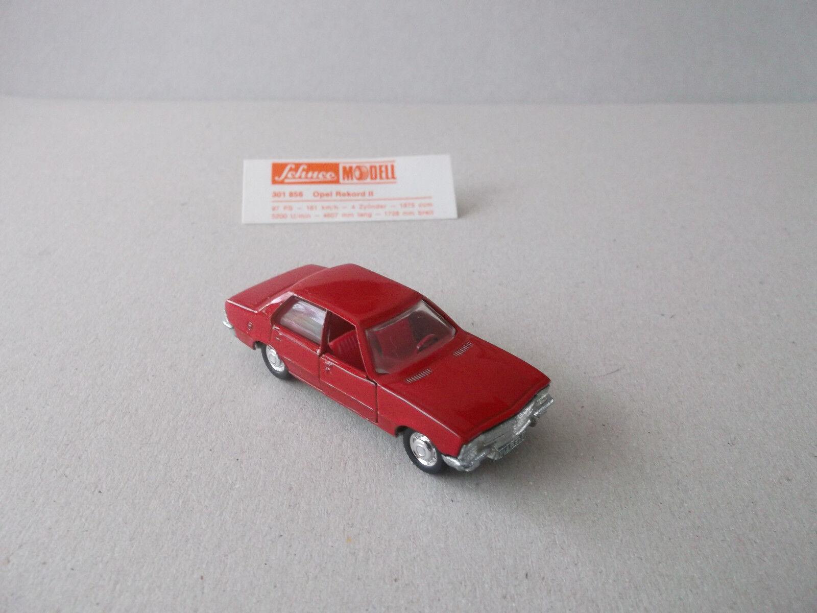 Schuco 1 66 OPEL REKORD (tipo II), NR 301856, rosso, con inserto biglietto BLISTER DA