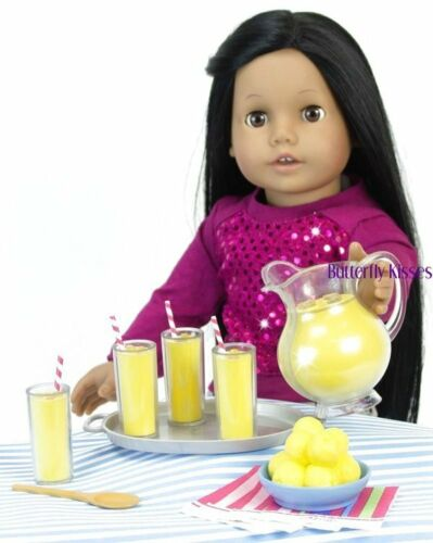 9 PC 18 in Doll Food Accessory For American Girl Lemonade Set 4 Glasses,Pitcher