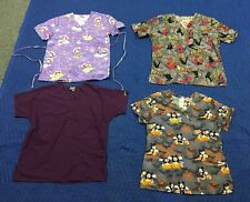 Lot Of (4) Size Small and X-SM Scrub Tops Mickey Spider-Man Strawberry Shirts