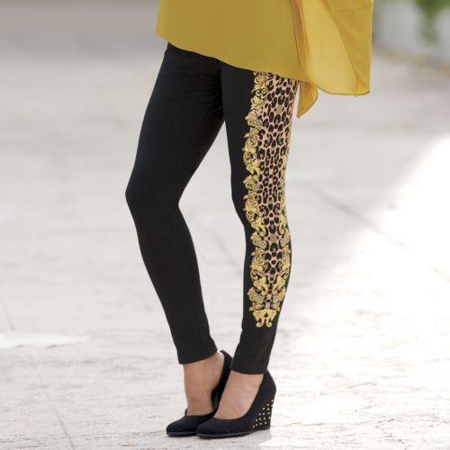 NEW WOMENS SIZE LARGE BLACK BAROQUE PRINTED LEGGINGS PANTS by MONROE /& MAIN