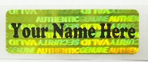 """250 SECURITY LABELS STICKERS SEALS GOLD HOLOGRAM VOID 1.5/"""" X 0.6/"""" CUSTOM PRINTED"""