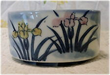 Square Asian Soup Bowl Snack Dip Salad Dish With Pink Amp Yellow Lilies