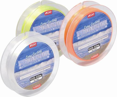 Asso Long Casting Tapered Shock Leader Line Orange Yellow Clear