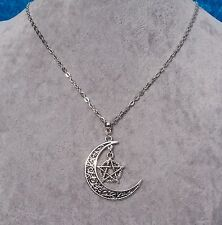 Bewitching Silver Filigree Crescent Moon Necklace With Pentagram Charm.Handmade.
