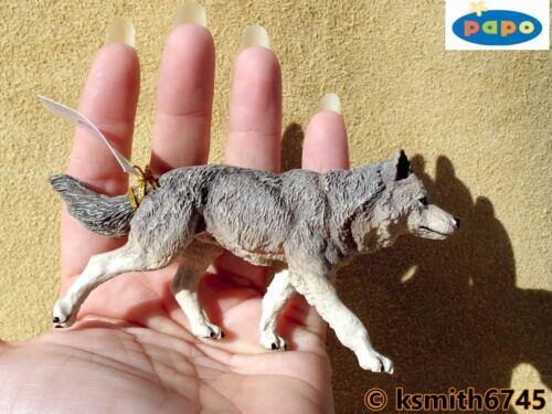 Papo Gris Wolf /& Cub plástico sólido Juguete Animal Salvaje Perro Depredador Nuevo *
