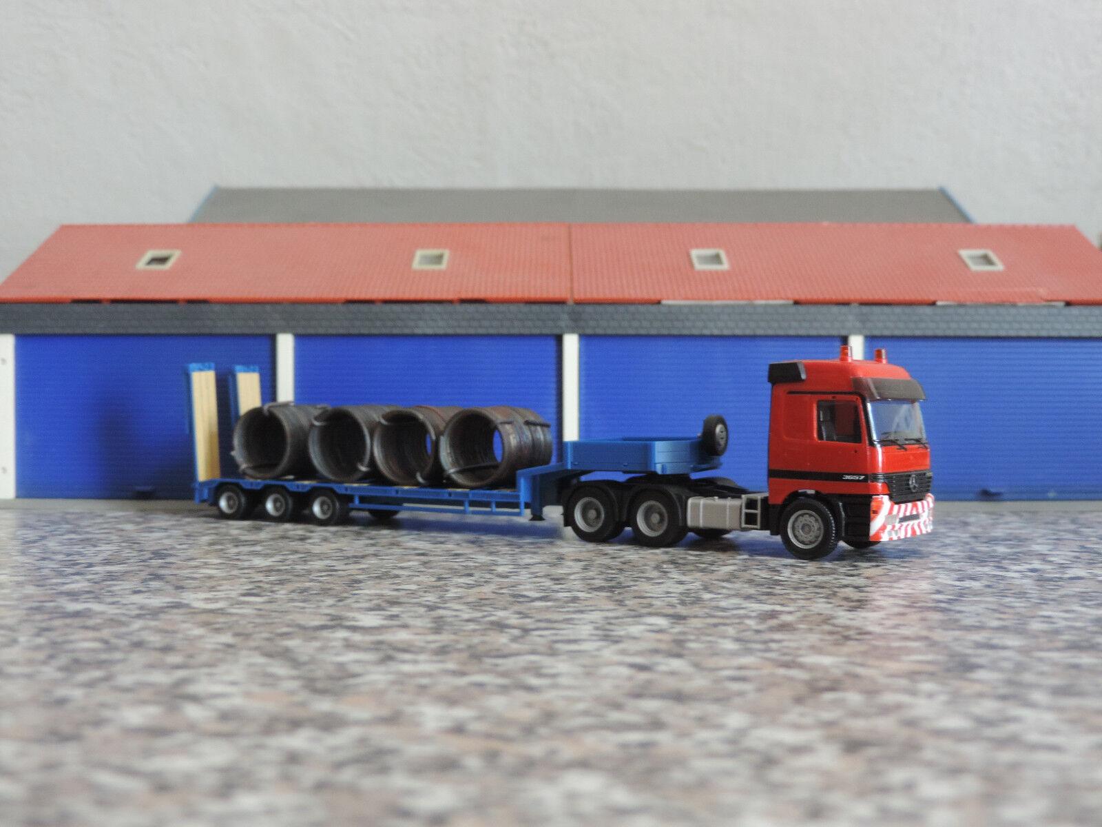 Herpa 1 87 - MB Actros MP 1 L 6-achs Semitiefladersattelzug -  rot-blau   | Adoptieren