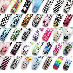 70-Pcs-Pre-Design-False-French-Acrylic-Nail-Art-Tips-Airbrush-Pattern-False-Nail
