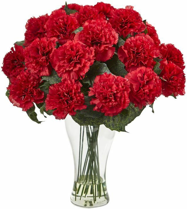 Home Office Decor Floral Bloom Artificial Carnation Flower Arrangement with Vase
