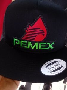 PEMEX MEXICO HAT MESH TRUCKER COLOR BLACK SNAP BACK FLAT BUILD ... 428fa4a1048