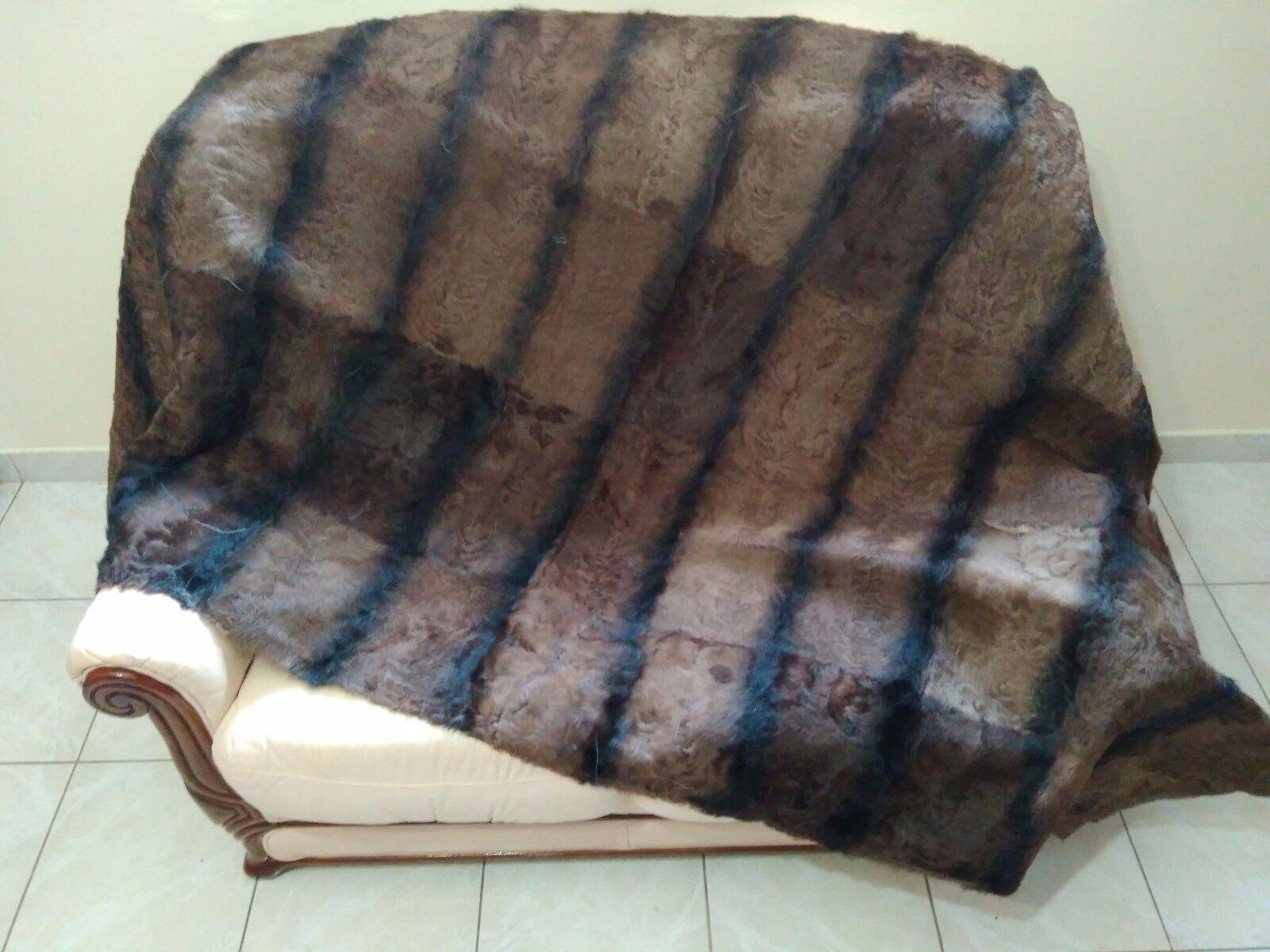 Luxury Striped braun Astrakhan Skin Fur Throw Real Lamb Fur Blanket   Bettspread