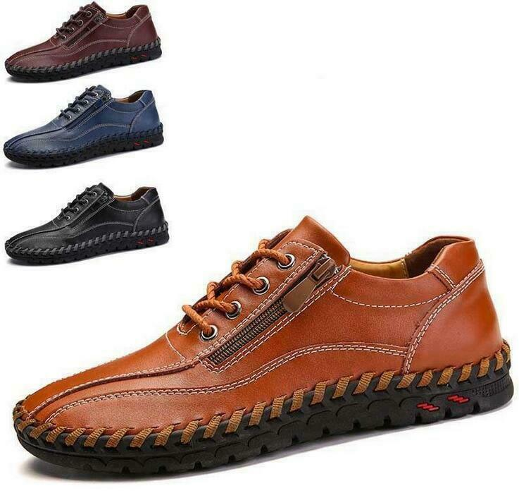 Size 38-50 Mens Leather Casual Lace Up Zip shoes Slip On Driving Gommino Loafers