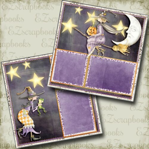 EZ Layout 3874 2 Premade Scrapbook Pages Witchy Night Halloween
