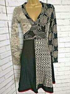 Desigual-Dress-Size-XS-Unusual-Cotton-Print-V-Neck-Long-Sleeves