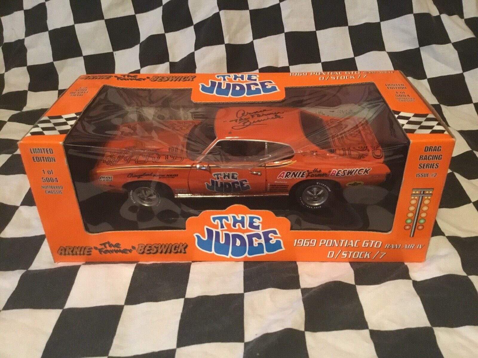 "Arnie  the farmer  Beswick Signed 1969 Pontiac GTO ""The Judge  Ertl 1 18 scale"