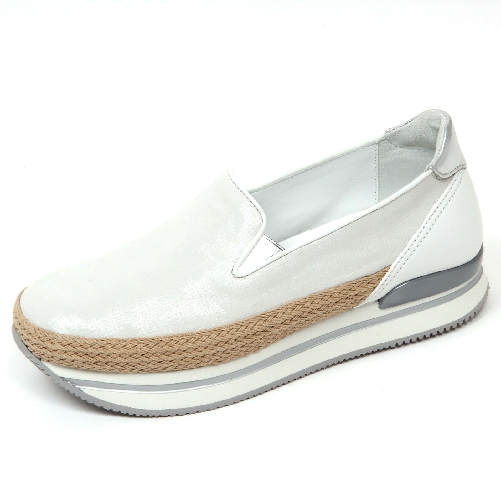 D0554 Moccasin Woman Hogan h222 shoes Slipper Silver White shoes woman