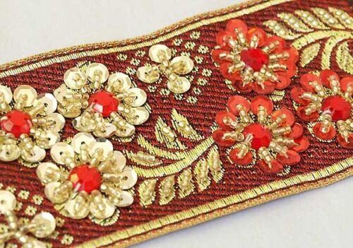 Jacquard Trim Hand-Beaded Floral Bouquet Gold Red