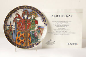 "Plates, Platters Antiques Charitable Heinrich Wall Plate "" Russian Fairytale "" 5 Wassilissa Stiefschwester Certified"