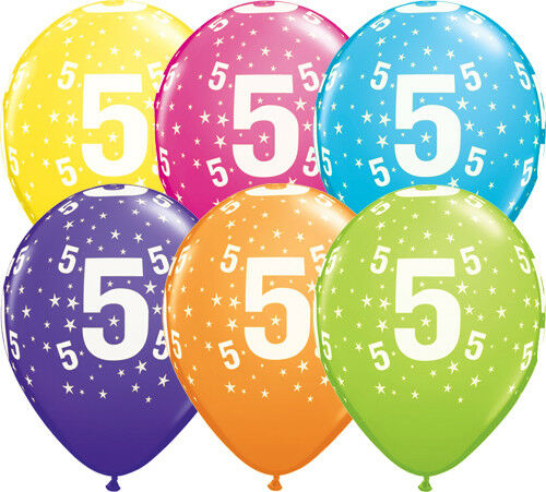 Qualatex 11/'/' Aged 5 Birthday Latex Balloons in Tropical Colours 5th
