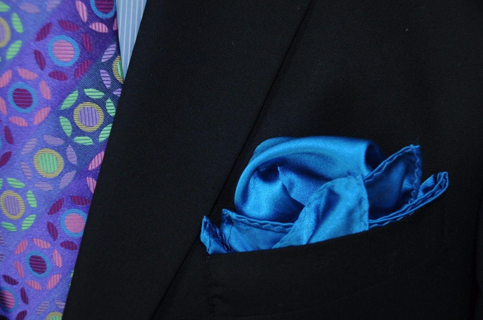Lord R Colton Masterworks Pocket Square - Vivid Peacock Blue Silk - New