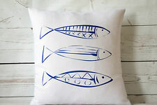 "Fish Sketch - 16"" cushion cover nautical/coastal shabby vintage chic"